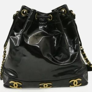 Chanel patent leather XL  bucket bag
